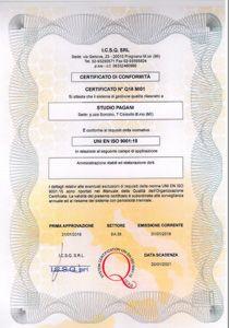 certificato icsq studio pagani