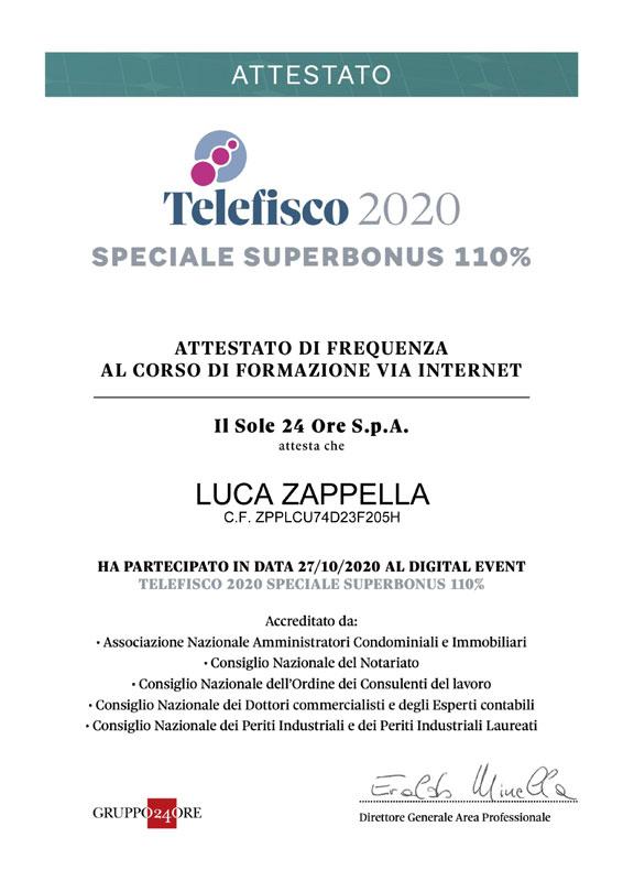 Attestato telefisco 2020 speciale superbonus 110 luca zappella